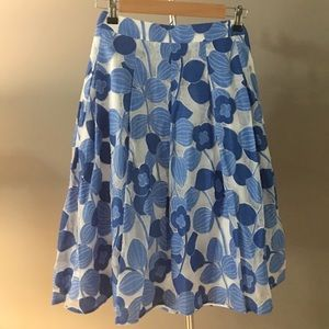 Talbots NWT Blue + White Floral A-Line Skirt